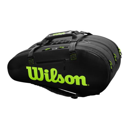 Wilson Super Tour 3 Comp szénfekete-zöld ütőtáska